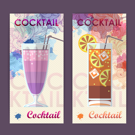 Flat cocktail design on Artistic decorative watercolor background. Cocktail menu Illusztráció