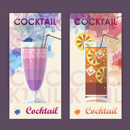 Flat cocktail design on Artistic decorative watercolor background. Cocktail menu Stock Illustratie