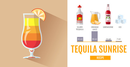 Flat style cocktail menu design. Cocktail tequila sunrise recipe