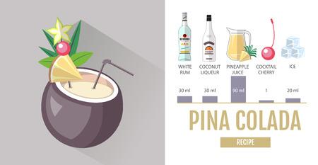 Flat style cocktail menu design. Cocktail pina colada recipe Vektorové ilustrace