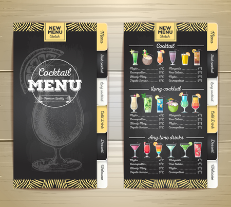 Vintage chalk drawing flat cocktail menu design. Corporate identity