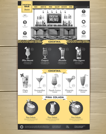 Flat style cocktail menu concept for Web site design. Corporate identity.