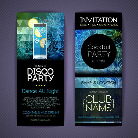 Disco Ñ�ocktail identity templates. Disco background Ilustração