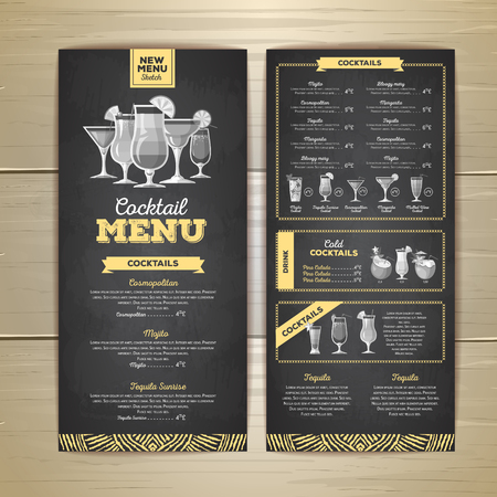 Chalk drawing cocktail menu design. Corporate identity 矢量图像