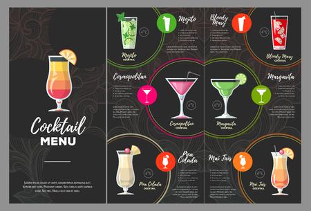 Flat cocktail menu design.