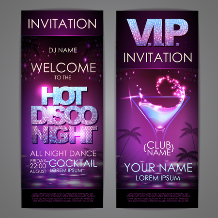 Set of disco background banners. Hot cocktail disco night poster Standard-Bild - 99392771