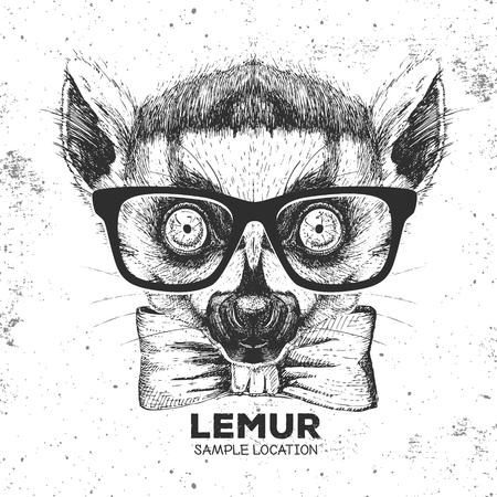 Hipster animal lemur. Hand drawing Muzzle of animal lemur Vector illustration.