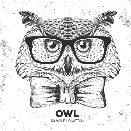 Hipster bird owl. Hand drawing Muzzle of bird owl Vector illustration. Ilustracja