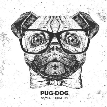 Retro Hipster animal pug-dog. Hand drawing Muzzle of pug-dog Vector illustration. Vettoriali