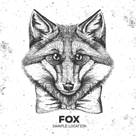 Hipster animal fox. Hand drawing Muzzle of animal fox Illustration