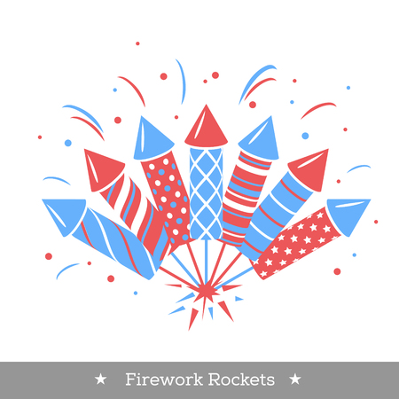 Vector holiday firework. Set of rockets or firecrackers