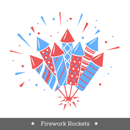 Vector holiday firework. Icon with rockets or firecrackers