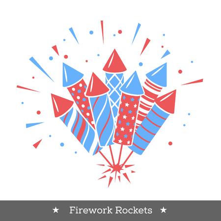 Fuegos artificiales de vacaciones de vector. Icono con cohetes o petardos