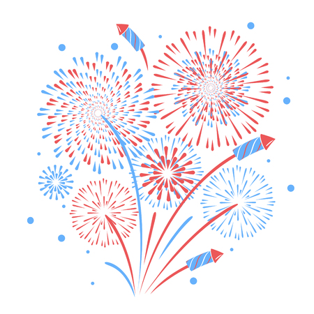 Vector holiday firework. Independence day of America 矢量图像
