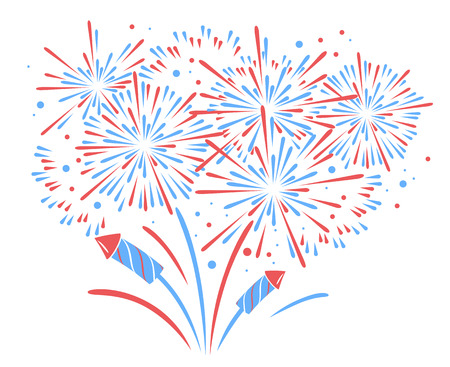 Vector holiday firework. Independence day of America 일러스트