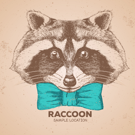 Hipster animal raccoon. Hand drawing Muzzle of animal raccoon