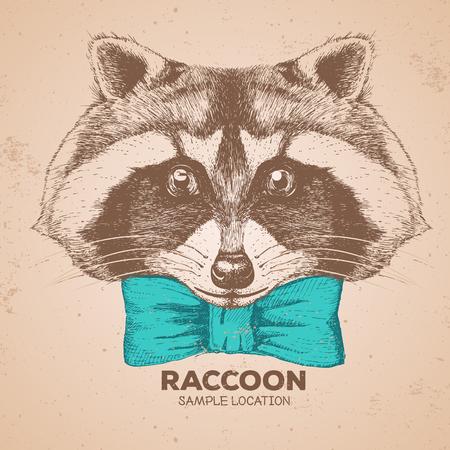 Hipster animal raccoon. Hand drawing Muzzle of animal raccoon