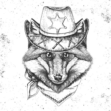 Hipster animal fox. Hand drawing Muzzle of animal fox Vectores