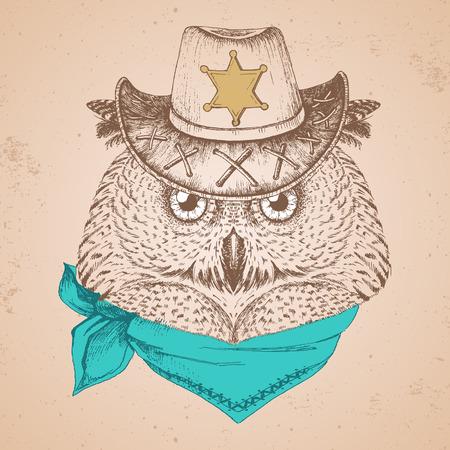 Retro Hipster bird owl. Hand drawing Muzzle of bird owl.