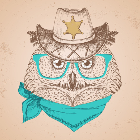 Retro Hipster bird owl. Hand drawing Muzzle of bird owl. Ilustracja