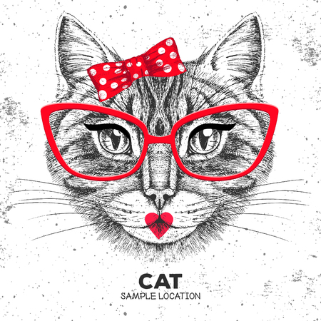 Retro Hipster animal cat. Hand drawing Muzzle of animal cat. Girl of 60s
