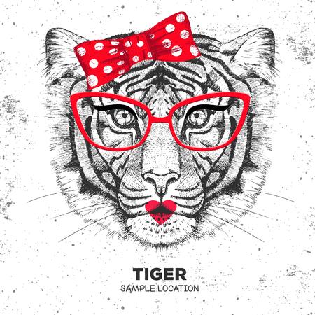 Tigre animal rétro Hipster. Dessin à la main museau de tigre animal. Fille des années 60