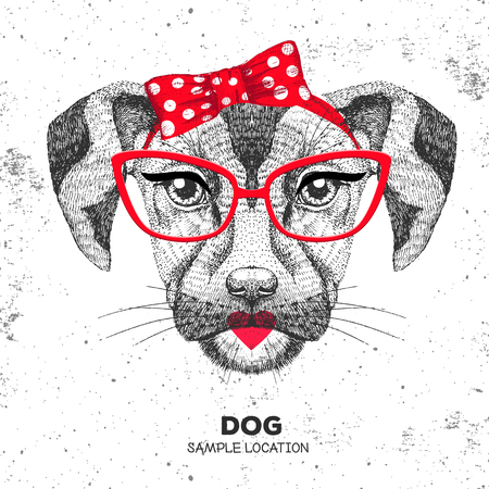 Retro Hipster animal dog. Hand drawing Muzzle of animal dog. Girl of 60s Illustration