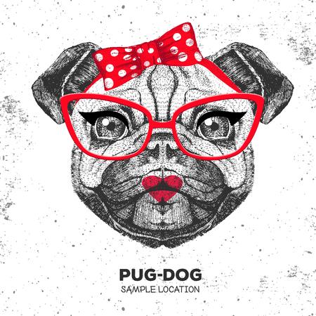 Retro Hipster animal pug-dog. Hand drawing Muzzle of animal pug-dog. Girl of 60s