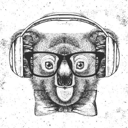 Hipster animal koala. Hand drawing Muzzle of koala. Reklamní fotografie - 100746362