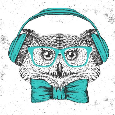 Hipster bird owl. Hand drawing Muzzle of bird owl