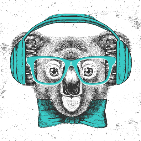 Hipster animal koala. Hand drawing Muzzle of koala Illustration