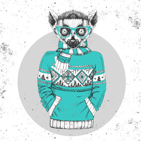 Retro Hipster fashion animal lemur dress up in pullover. Hipster animals