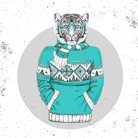 Retro Hipster fashion animal tiger dress up in pullover. Hipster animals