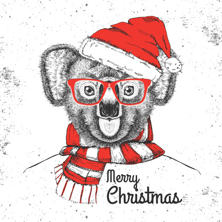 Christmas Hipster fashion animal koala dressed a New Year hat and scarf Illustration