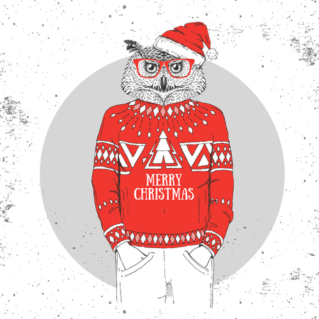 Christmas Hipster fashion bird owl dressed a New Year hat and pullover