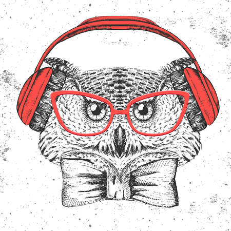 Hipster bird owl. Hand drawing Muzzle of bird owl