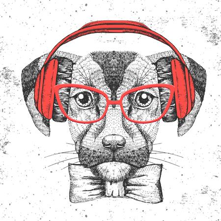 Hipster animal dog. Hand drawing Muzzle of dog Illustration