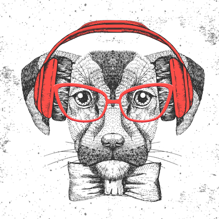 Hipster animal dog. Hand drawing Muzzle of dog Vectores