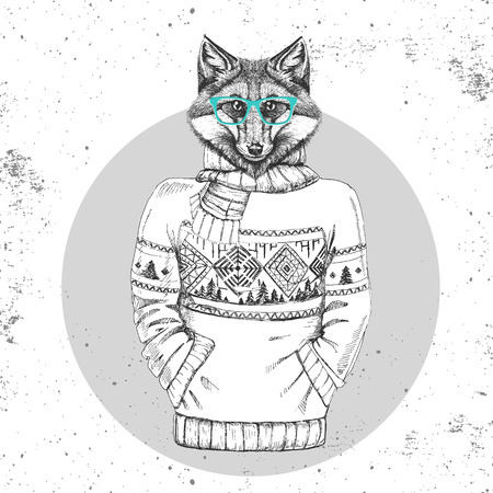 Retro Hipster fashion animal fox dress up in pullover. Hipster animals