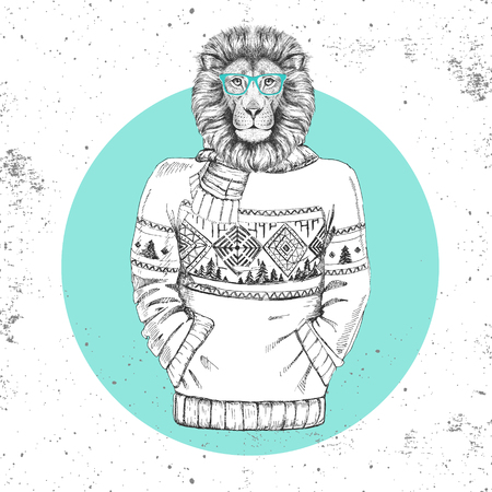 Retro Hipster fashion animal lion dressed up in pullover. Hipster animals