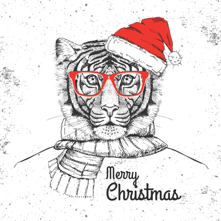 Christmas Hipster fashion animal tiger dressed New Year hat and scarf