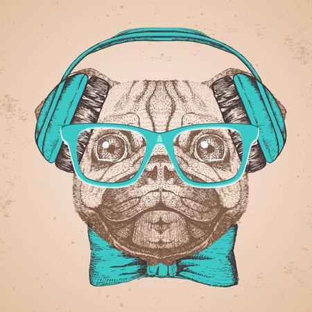 Retro Hipster animal pug-dog. Hand drawing Muzzle of pug-dog Stock Illustratie