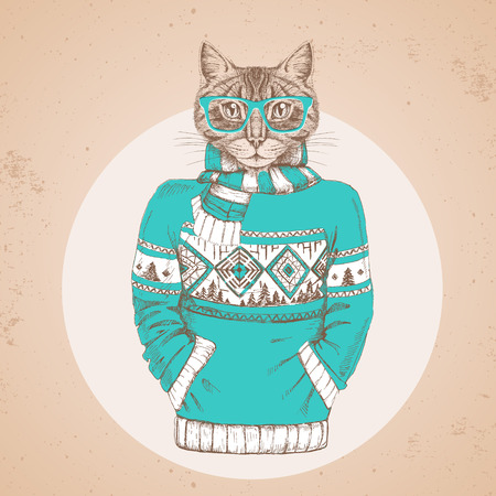 Retro Hipster fashion animal cat dress up in pullover. Hipster animals Illustration