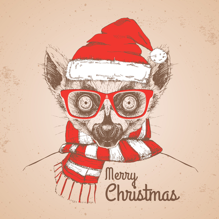 Christmas Hipster fashion animal lemur dressed a New Year hat and scarf