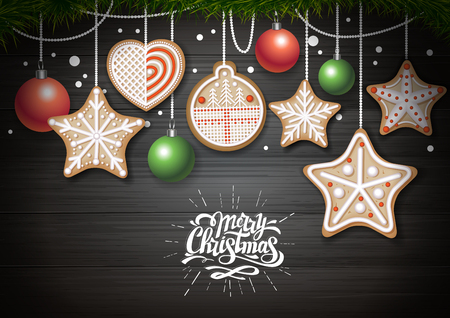 Top view of Merry Christmas concept design. Holiday cookies on wooden background. Christmas food