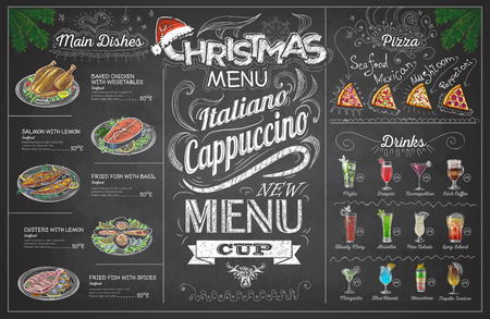 Vintage chalk drawing christmas menu design. Restaurant menu 向量圖像