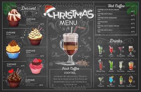 Vintage chalk drawing christmas menu design. Restaurant menu Vectores