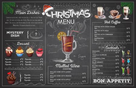 vintage chalk drawing christmas menu design restaurant menu royalty
