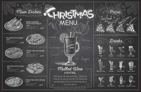 Vintage chalk drawing christmas menu design. Restaurant menu Illustration