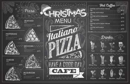 Vintage chalk drawing christmas menu design. Restaurant menu Illustration